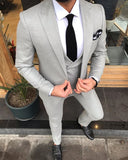 Peak Lapel Light Gray Prom Suits Dinner jacket Suits for Men 3 Pieces ,Wedding Groomsmen Suits CB08222
