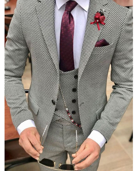 Fashion Wool Houndstooth Men Dress Prom Suits for Wedding Groom Tuxedos 3 Pieces