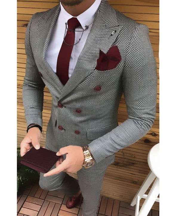 Double Breast Fashion houndstooth Black /Blue/Burgundy  Peak Lapel Men Suits  2 Pieces