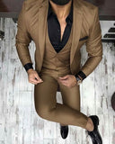 chocolate brown three piece men brazer /dress suit (jacket+waistcoat +pants)