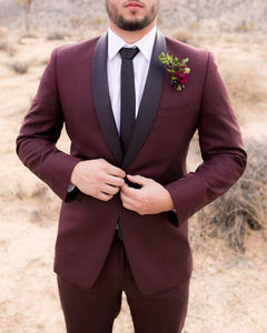 Fashion Burgundy Wedding Tuxedo for Groomsmen with Black Shawl two Pieces(jacket+pants) CB334