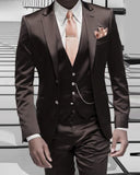 Dark chocolate Brown/Black /Gray Regular Fit  Brown Sharkskin Shiny Suit Three Pieces dinner jacket Suits 2020 CB0621