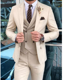 Beige Mens Suit Set Blazer Tuxedos For Groom 2020 3 Pieces(Jakcet+pants +vest)