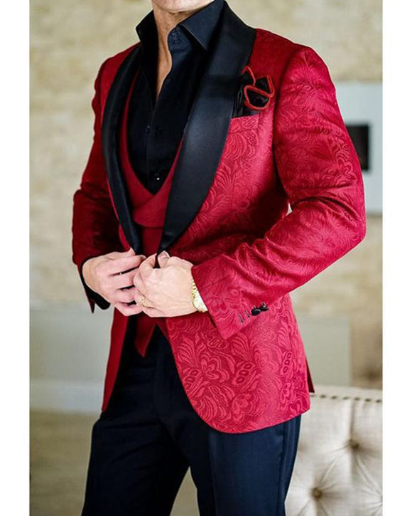Jacquard Floral Pattern Red Wedding Tuxedos for Men ,Prom Suits 3 Pieces (Blazer +vest+pants ) CB08012