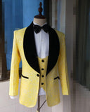 Slim Fit Lapel Shawl Yellow Prom Dress Suit For Men Formal Party Blazer outfit garnitur meski (jacket+pants+vest)