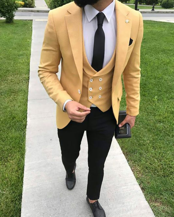 Yellow Blazer Three Pieces Prom Tuxedo for Men 2019 CB554