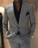 Men Fashion formal Outwear  Pieces Houndstooth Tweed Jacket Blazer Suits for Men (Jacket+Patns)