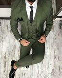 Olive /Dark green Men Blazer Prom Suit Outfits for Graduation ,Wedding Suit Three Pieces (Jacket+pants+vest)
