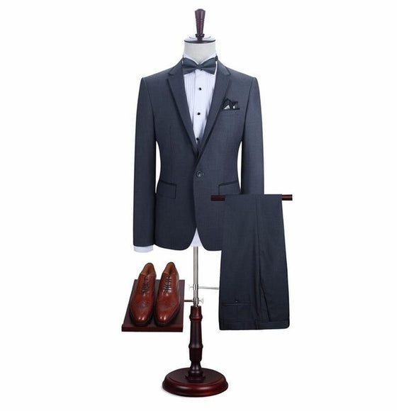 New Fashion Grey Men Suit Brand Men's Blazer Business Wear Slim Fit Wedding Suit Groomsmen Tuxedos (jacket+pant)