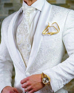 CB742 White Wedding Groom Dress Suits Shawl Lapel Tuxedos 2 Pieces (Jacket +pants)