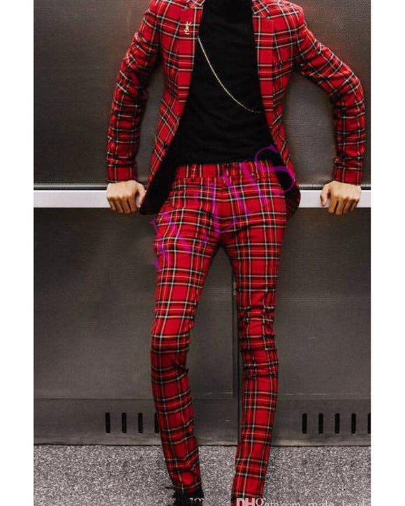 Slim Fit 2 Pieces Red Checked Men's Suit for Wedding Jacket Blazer CB01224