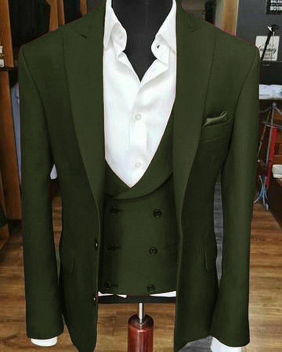 Peak Lapel Dark Army Green Wedding Groomsmen Suits Prom 3 Pieces (jacket+pants+vest) CB0808
