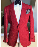 Red Jacquard Floral patter Jacket for Men,Wedding Formal Suits Blazer CB08042