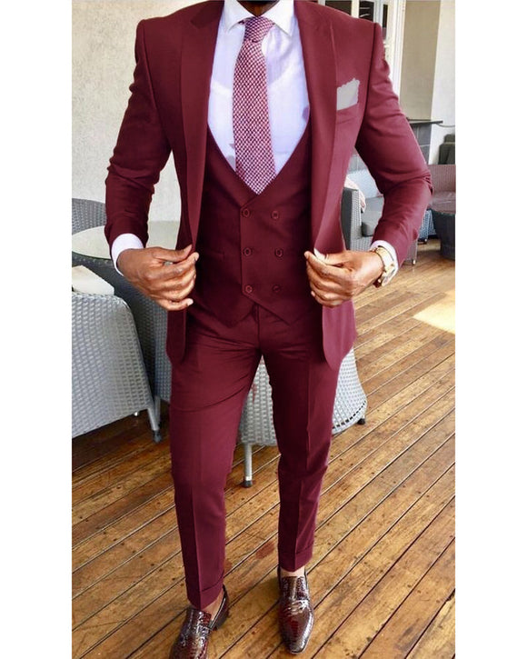 Burgundy  Peak Lapel Wedding Tuxedo for Men/Groom 2019 Three Pieces(jacket+pants+vest)