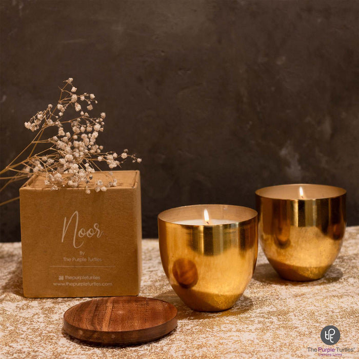 Metal Container Candle (Gold)