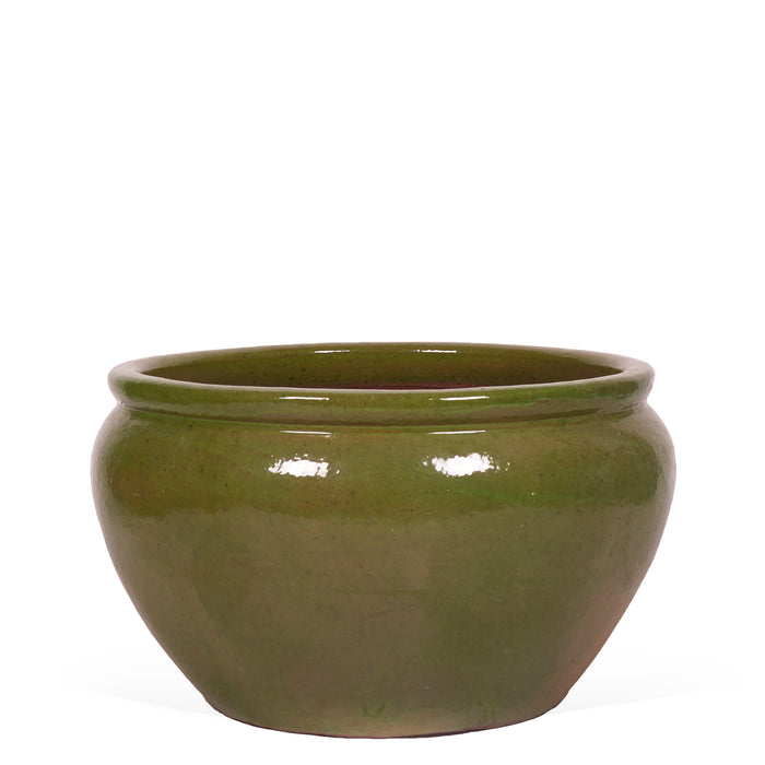 Roll Top Planter - Glazed Green