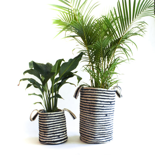 Black N White Jute Planter