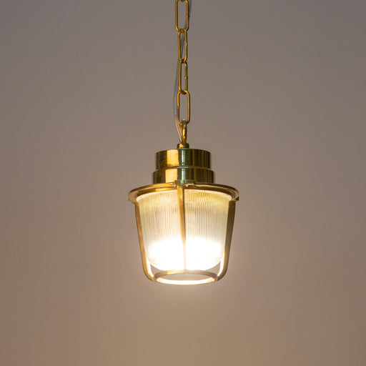 BRASS RIBBED GLASS PENDANT LAMP