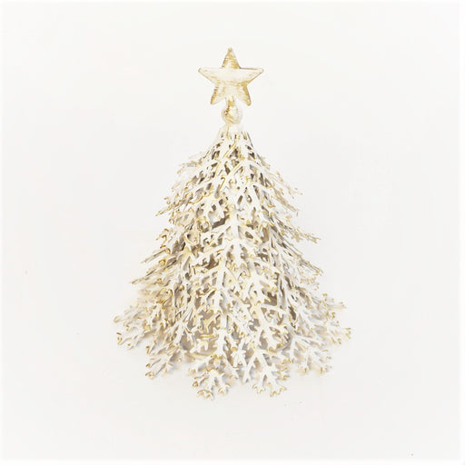 Christmas Tree (Distress White & Gold)