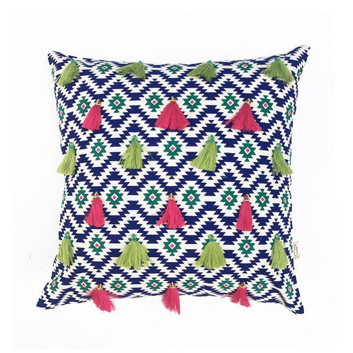Blue Ikasa Tassle Embroidered Cushion Cover