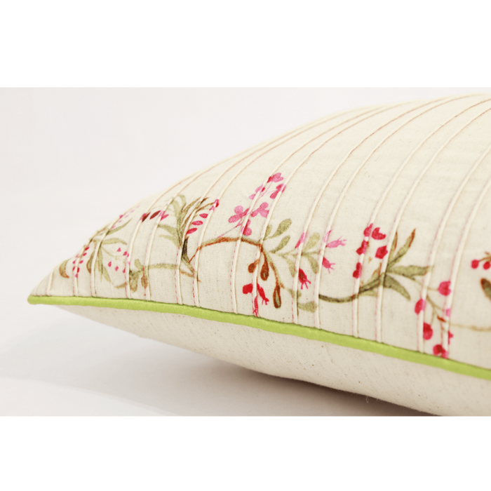 Floral Pintucked Climber Cushion Cover