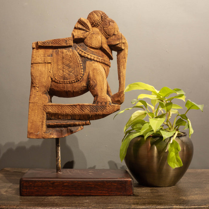 Vintage Carved Wooden Elephant Artefact