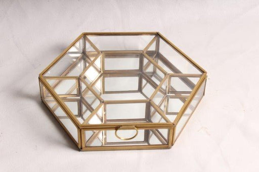 Hexagonal Brass Glass Box