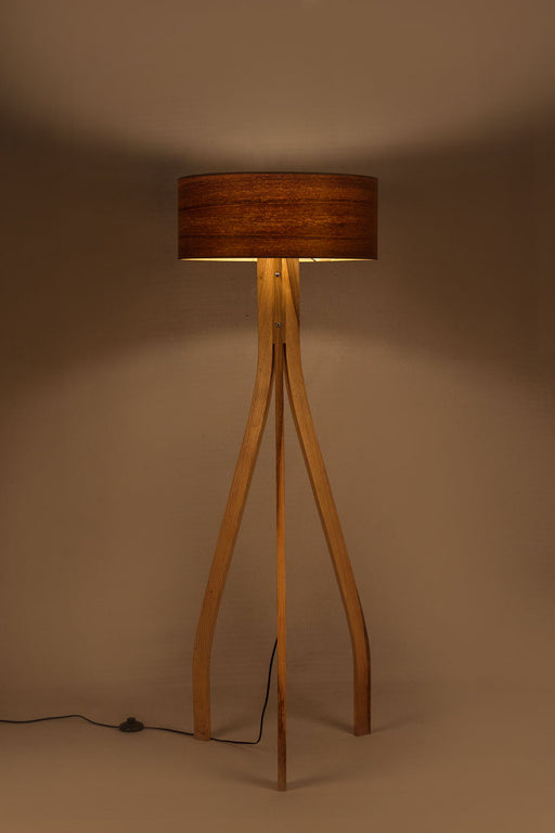 Veneer Drum Floor Lamp