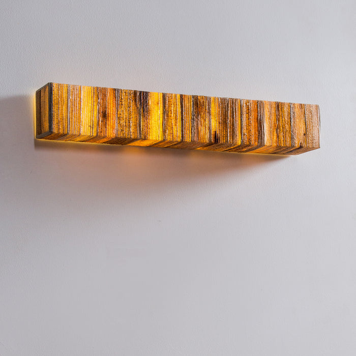 Tube Cover Square Bark Wall Lamp