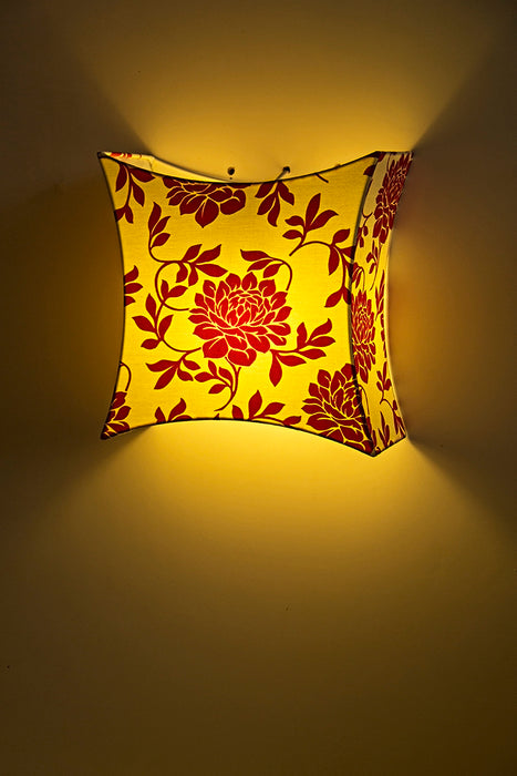 Taman Floral Wall Lamp (White & Red)