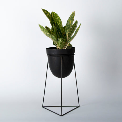Jet Black Planter (with stand)