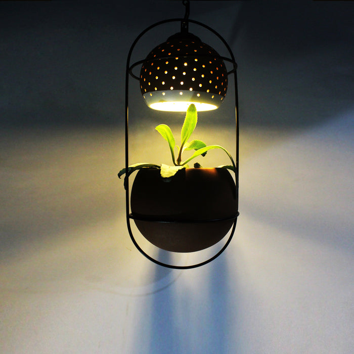 Terracotta Hanging Planter With Light