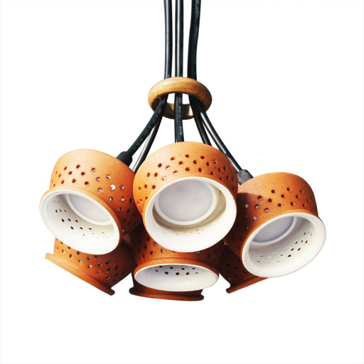 Tulip - Cluster of 7 Terracotta Pendant Lamp