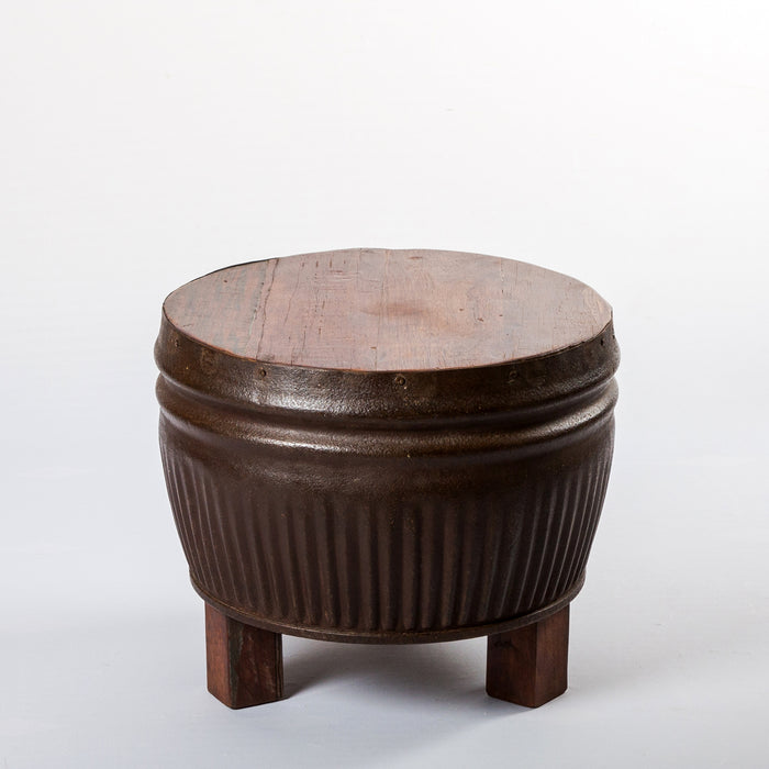 Art Iron Drum With Wooden Top Stool