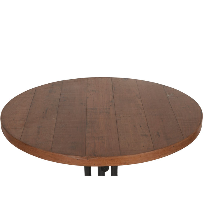 Wooden Table With Iron Stand