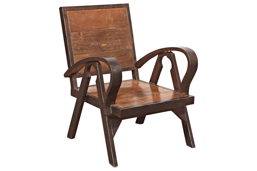 Art Iron Chair With Wooden
