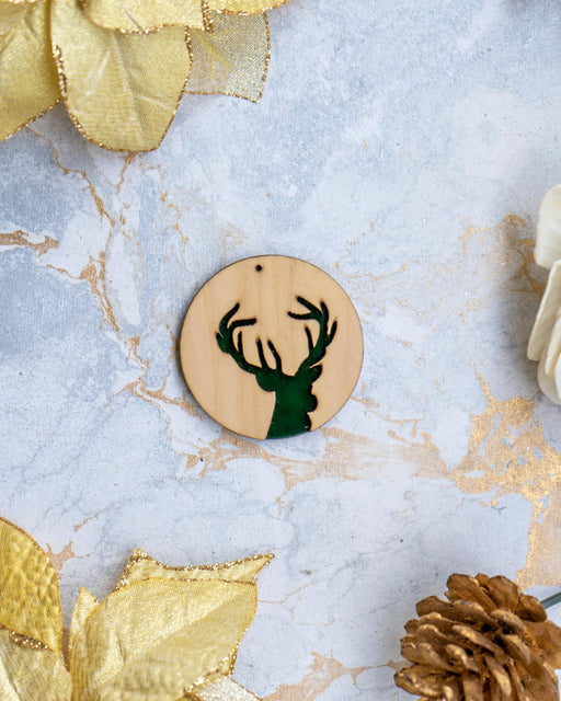 Plywood & Velvet Reindeer (Green - Set of 2)