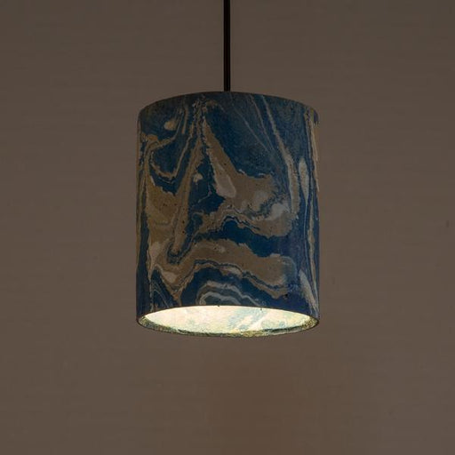 Azure Dappled Canister Pendant Lamp