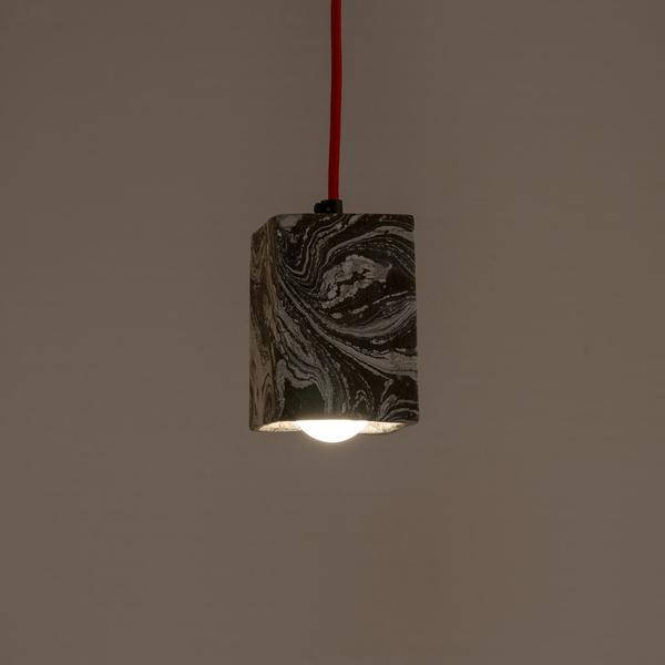 Graphite Dappled Cubiture Pendant Lamp