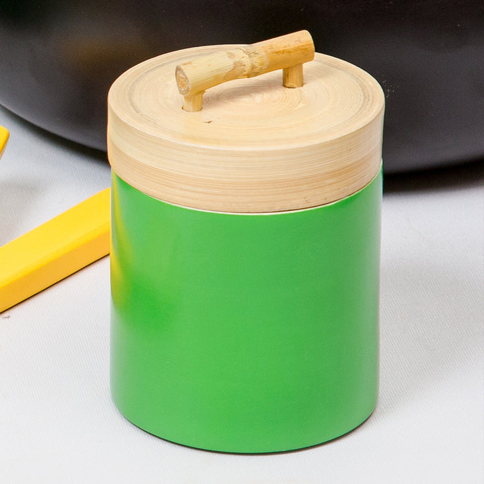 Green Coiled Bamboo Canister