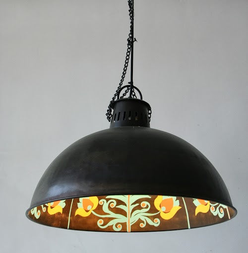 Cust Dome With Painting Pendant Light
