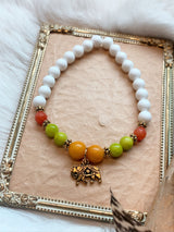Dyed Jade and Mother of Pearl Bracelet