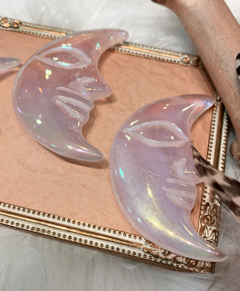 Angel Aura Rose Quartz Moon Face - Crescent