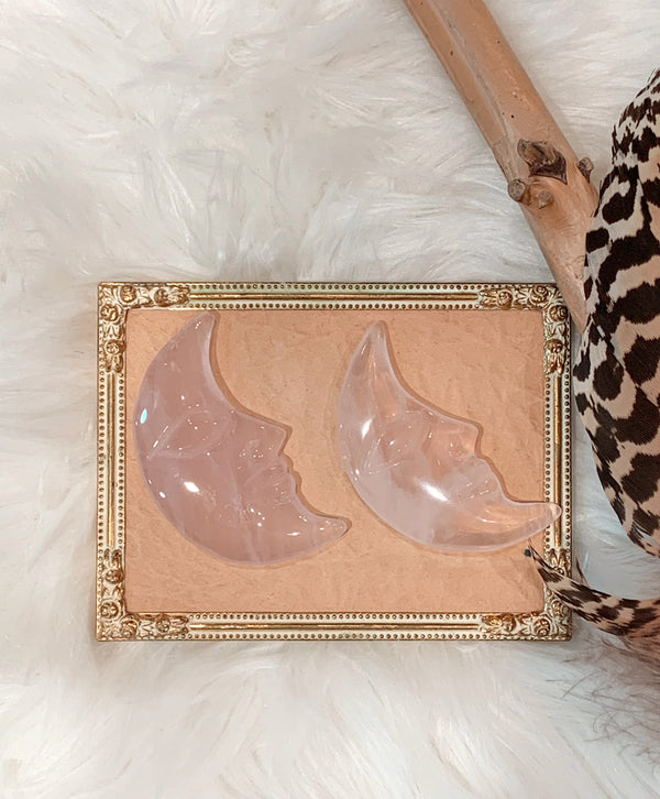 Rose Quartz Moon Face - Crescent