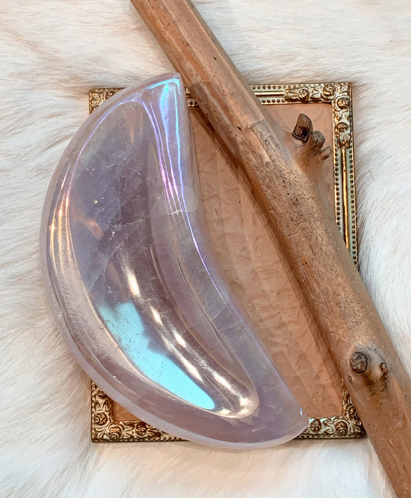Rose Quartz Aura Moon Bowl