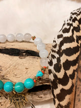 Turquoise and Moonstone Bracelet with Hamsa Hand