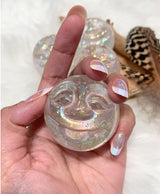 Angel Aura Quartz Smiling Moon/Sun Face