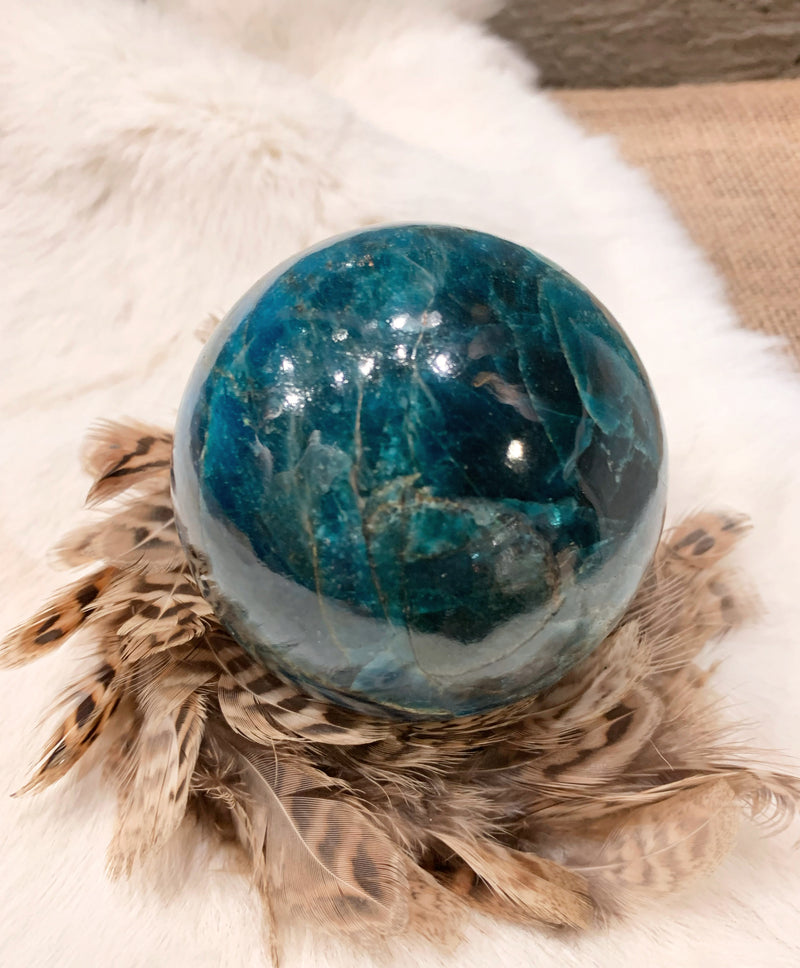 Neon Apatite Sphere - Large