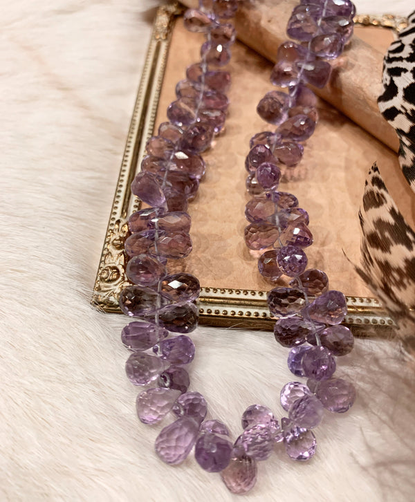 Amethyst Faceted Tear Drop Beads Necklace