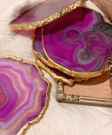 Agate Slice With Gold Electroplating
